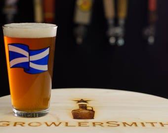 Flag of Scotland Beer Glass 16 oz