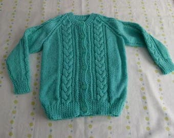 Knitted jade cardigan with knot effect detailing on front and sleeve - 12-18 month
