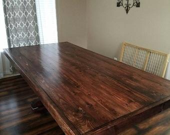 Custom farm style dining table