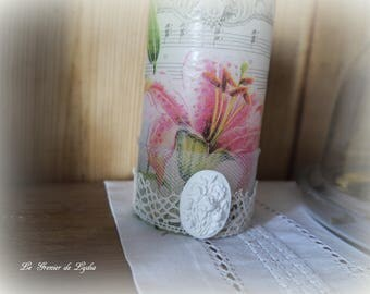 """Candle """"Pink lily"""" shabby chic 13 cm"""