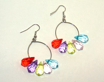 Multi-Color Silver Plated Teardrop Beaded Hoop Earrings