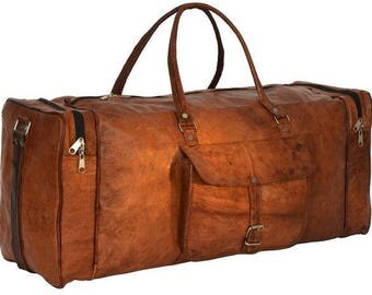 The Irishman | Vintage-Styled Brown Leather Duffel Bag
