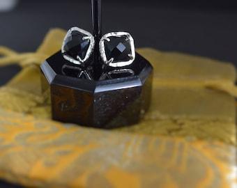 Black Onyx Stud Statement Earrings