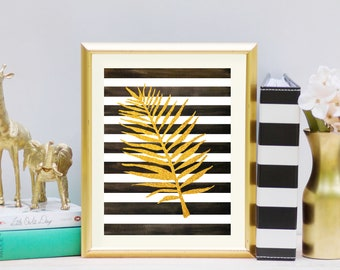 palm leaf print, tropical leaves print watercolor, fern leaf print, tropical leaves watercolor, botanical print set gold accent decor