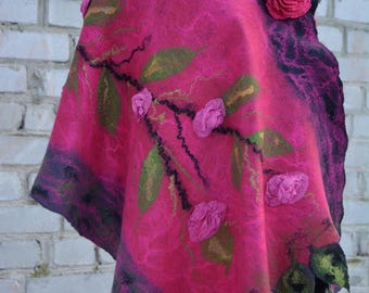 Pink flower silk Women wool shawl Merino wool clothing Clothing gift  Trending now Top popular Beauty gift  Women felt shawl Pink felt scarf