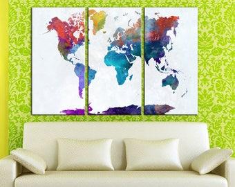 Canvas wall art World map Canvas Watercolor World map Wall Art Canvas Print Wall decor Large Canvas Art Home decor World map interior canvas