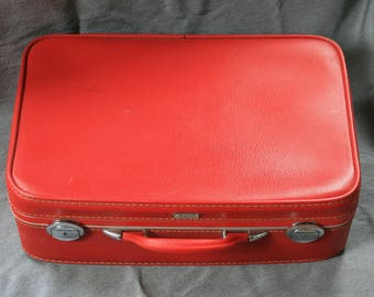 Red Amelia Earhart Suitcase / Retro Suitcase / Wanderlust / Travel Decor