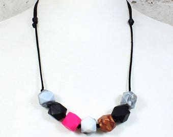 Penelope Pink Geo Beads Silicone Teething Necklace