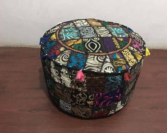 "Black 22"" ottoman pouf cover indian round pouf cover pouffe Ottoman foot stool"