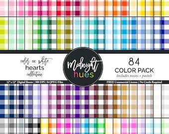 "Gingham Digital Paper - 12 x 12"" JPEG - 84 Colors Checker Pattern - Plaid Digital Paper -Scrapbook Digital Paper Rainbow, Pastel Neon Colors"