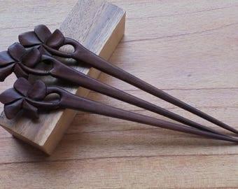 1 Prong Flower Wood Hair Sticks,Hair Pin,  Hair Fork, Hair Accessories HS109