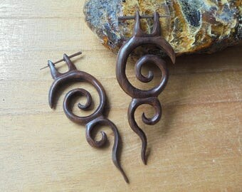 Wood Stick Post Earrings,Tribal Fake Earrings, Wood Fake Earrings, Wooden Accessories, Bali Jewelry, SNP2