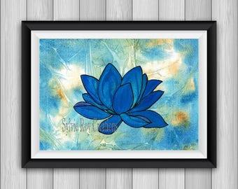 digital download, print, lotus, blue flower, watercolor, instant wall decor, bedroom, living room, office, download