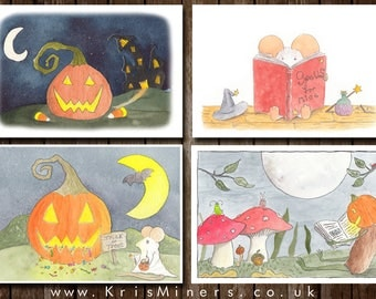 Whimsical Halloween Greetings Card 4-Pack - by Kris Miners