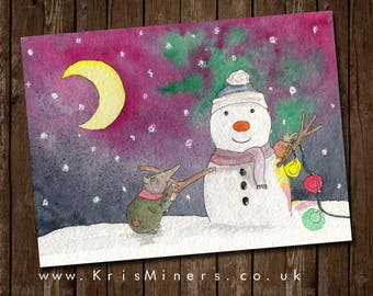 Whimsical Christmas / Winter 'Mr Frosty' Greetings Card