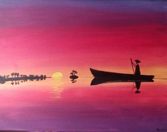 Canoe at dusk 30x40po painted with acrylic