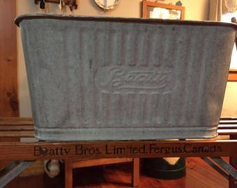 Original BEATTY BROS. Wash Tub Bench and Galvanized Wash Tub from Fergus Ont.