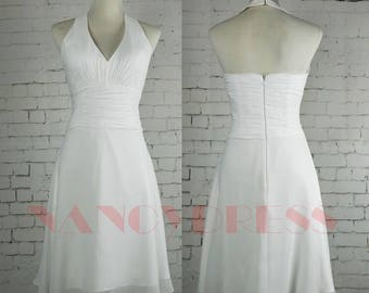 V Neck Bridesmaid Dress, White Short Dress, Chiffon Formal Dress, Short wedding Dress,A Line Prom Dress