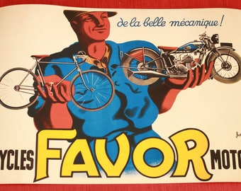 "Beautiful vintage poster ""Cycles favor"" in A3 size."