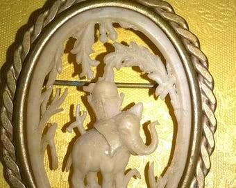 vintage art deco celluloid elephant brooch