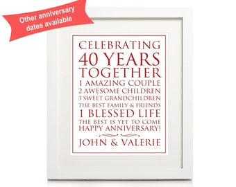 40th Anniversary Personalised Print