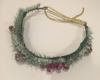 Christmas greenery adjustable floral crown with small pine ones and holly berry