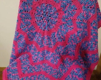 Crochet Baby Girl Blanket in pinks, blues, and purples