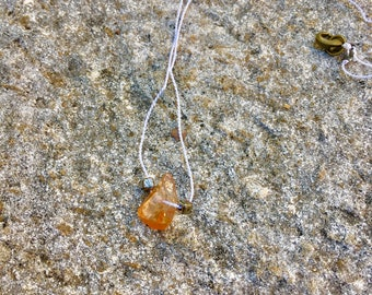 Coated Quartz Crystal Pendant with Silk String Necklace