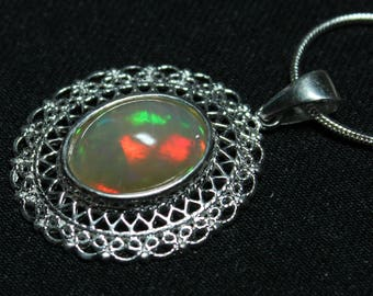 3.55 ct Natural Ethiopian opal pendant, 14 x 10 mm oval cabochon, Sterling silver filigree