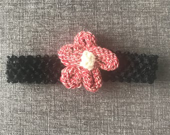 Knit flower baby headband