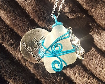 "Custom Sea Glass ""Mermaid Tears"" Necklace made from Sea Glass found in Cornwall, England."