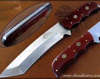 Custom  Handmade J2 steel Hunting Tanto Knife Micarta Sheet Handle Beautiful Filework with brass linning with Mosaic Pin