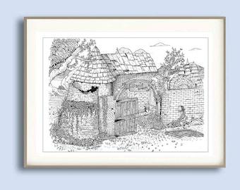 Casa vieja, illustration, drawing, autumn leaves
