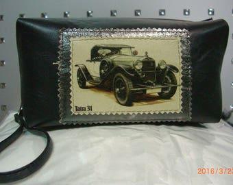 shoulder bag black with retro car