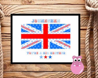 Personalised British Flag Print. A gift for a child who is soon to be a Big Brother/New Sibling/New baby. Perfect to make them feel special.