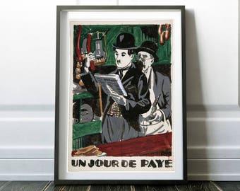 Rare Chaplin movie poster / Charlie Chaplin print / Vintage Chaplin poster / Charlie Chaplin art / Charlie Chaplin decor / Digital print