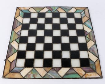 Stained Glass Chessboard and Agate Stone Chess Pieces