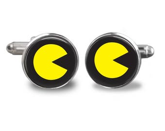 Pacman cufflinks video game cufflinks gamer cufflinks atari gift mens cufflinks glass cufflinks silver cufflinks mens cuff links