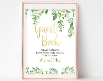 Please Sign Our Guestbook Sign Wedding Guestbook Printable Wedding Guestbook Signs Floral Guestbook Sign Instant Download PDF 4x6, 5x7, 8x10