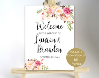 Floral Welcome To Our Wedding Welcome Wedding Sign Printable Welcome Wedding Poster Board Printable Sign 8x10, 16x20, 18x24, 20x30 PDF