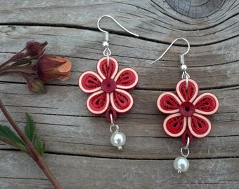 quilled earrings - red earrings -quilling jewelry - paper jewelry