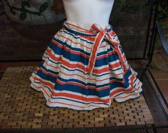 Orange/Blue/White Striped Swing Mini- skit-Small