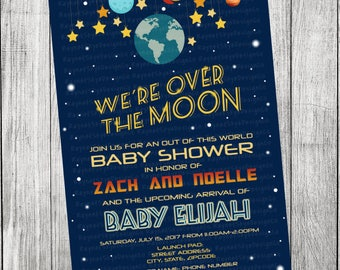 Spaceship/Over the Moon Baby Shower Invitation