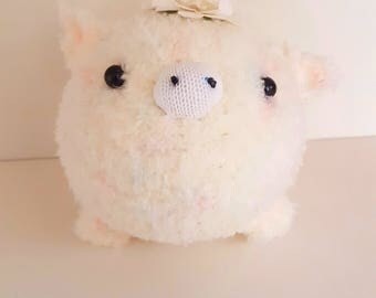 White Pig Plush with Paper Flower