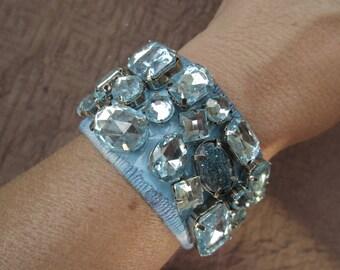 turquoise bezel bracelet with blue stones