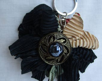 fabrics and jewel flower keychain
