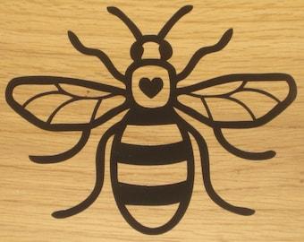 Manchester Bee Vinyl Car Decal Sticker 160mm x 130mm Heart Black B