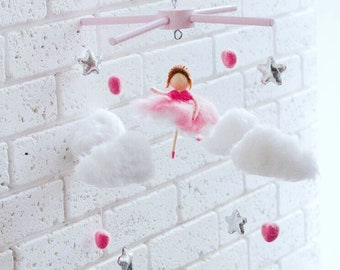 Baby felt and wool mobile pink balerinas