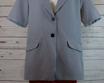 Navy and White Checkered Short Sleeve Blazer