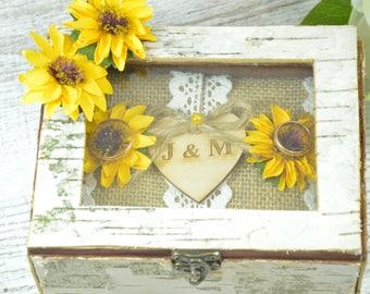 Sunflower Wedding Box Sunflower Ring Pillow Bearer Box Personalized Burlap Ring Bearer Pillow Garden Woodland Box Ring Pillow Alternative